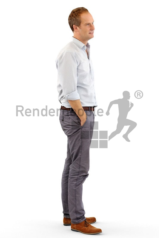 3d people business, white 3d man standing with his hands in his pockets