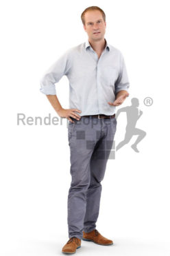 3d people business, white 3d man standing and talking