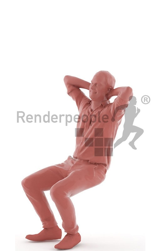 3d people business, white 3d man sitting and laughing