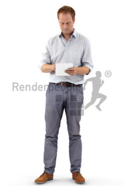 3d people business, white 3d man standing and using a tablet