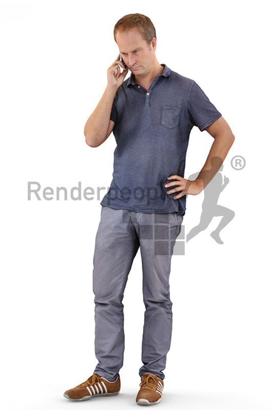 3d people casual, white 3d man standing and talking on the phone
