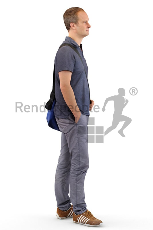 3d people casual, white 3d man with a bag standing