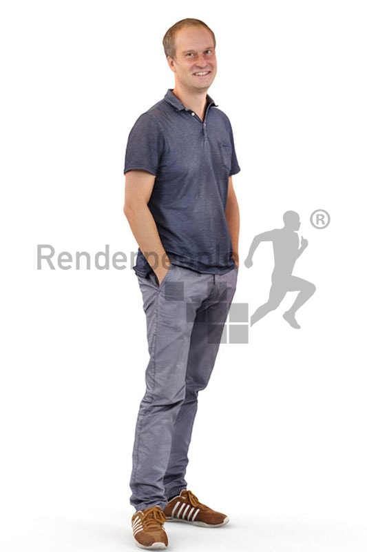 3d people casual, white 3d man standing with his hands in his pockets