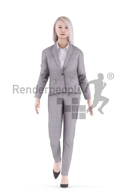Animated 3D People model for realtime, VR and AR – asian woman, in business look, walking