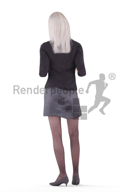 Animated 3D People model by Renderpeople – asian woman in business look, standing and talking
