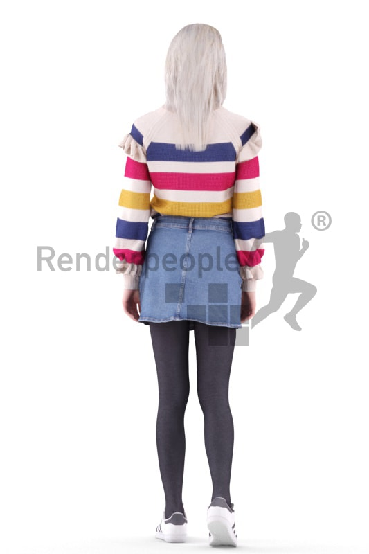 3d people casual, asian 3d woman walking