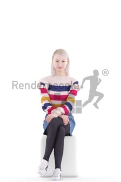 3d people evening, asian 3d woman sitting