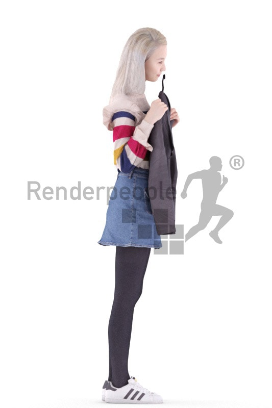 3d people casual, asian 3d woman standing and shopping