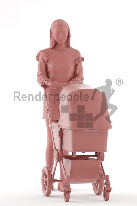 Posed 3D People model for renderings – asian woman carrying a buggy