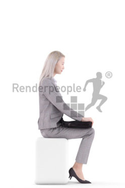 3d people business, asian 3d woman sitting with a briefcase on her lab