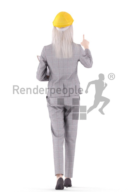 3d people business, asian 3d woman walking with a clipboard
