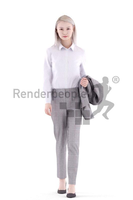 3d people business, asian 3d woman walking