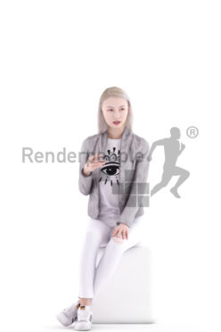 3d people casual, asian 3d woman sitting talking