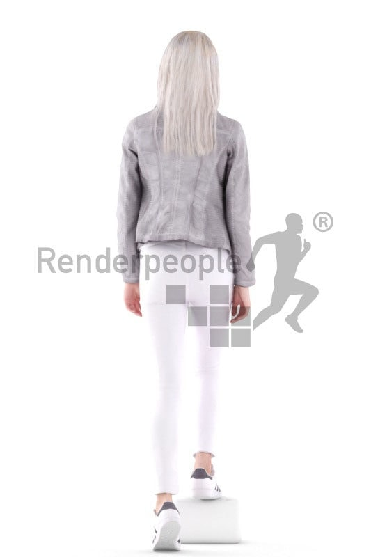 3d people casual, asian 3d kid walking and stairs