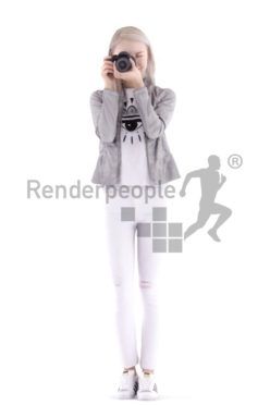 3d people casual, asian 3d woman standing taking a photo