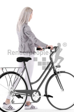 Posed 3D People model for visualization – asian female in daily outfit, walking with bike