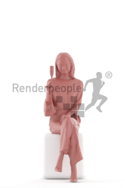 Posed 3D People model for visualization – asian woman in a chic event dress, sitting and drinking prosecco