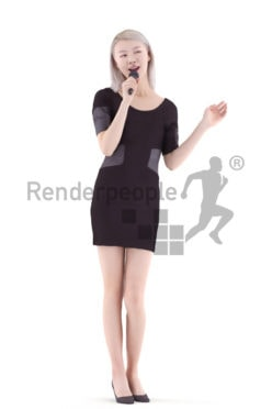 3d people evening, asian 3d woman standing and singing
