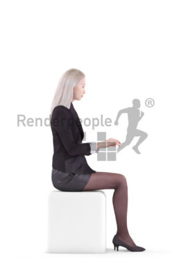 3d people business, asian 3d woman sitting and typing