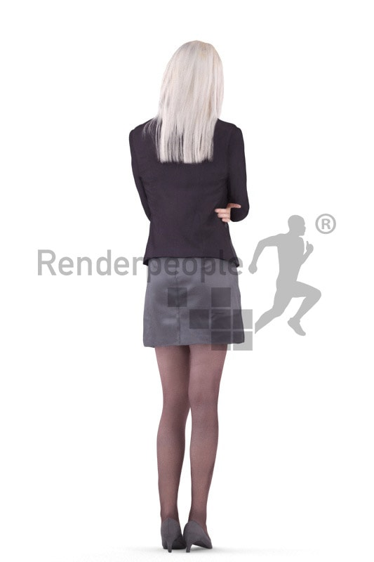 3d people business, asian 3d woman standing and talking