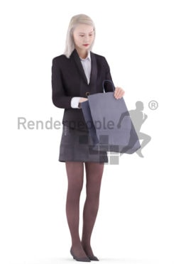 3d people business, asian 3d woman standing looking into a shopping bag