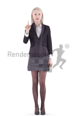 3d people business, asian 3d woman standing and touching a control