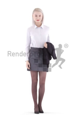 3d people business, asian 3d woman walking