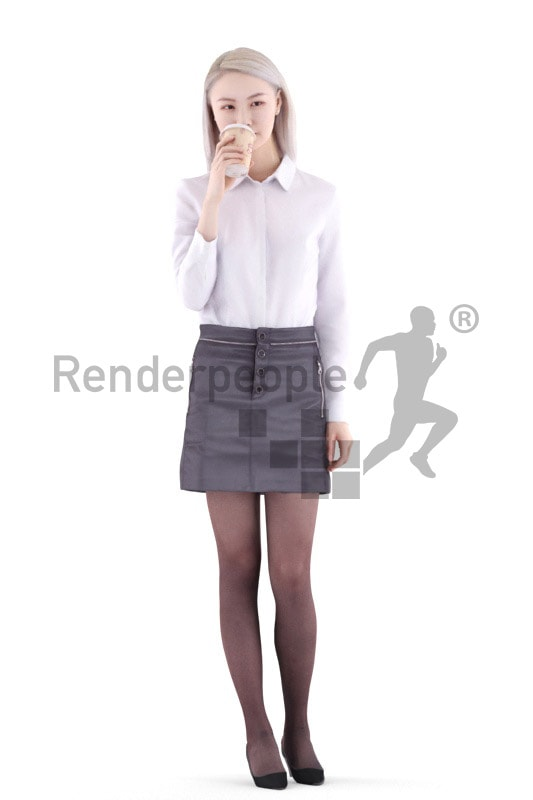 3d people business, asian 3d woman walking and drinking coffee