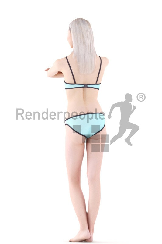 3d people swimming, asian 3d woman in the pool leaning