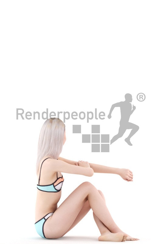 3d people swimming, asian 3d woman sitting