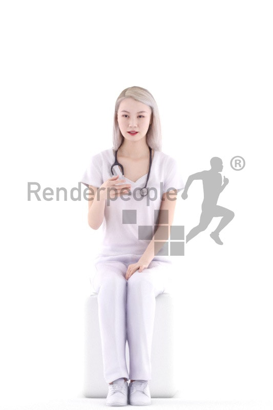 3d people hospital, asian 3d woman sitting and talking