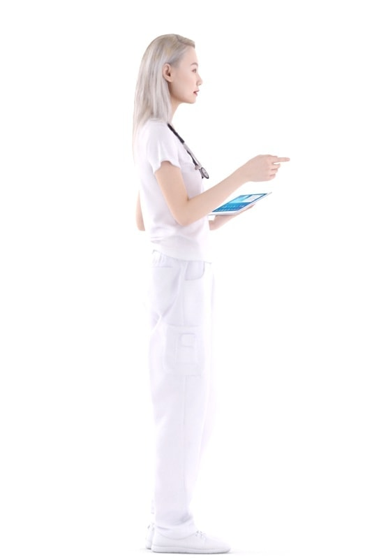 3d people hospital, asian 3d woman standing and talking