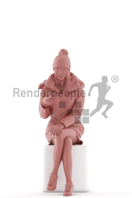 3d people outdoor, asian 3d woman sitting and talking
