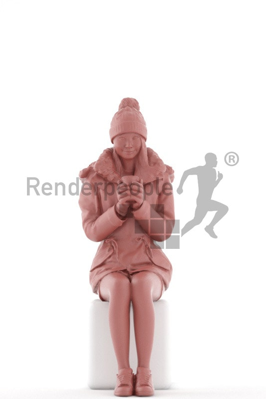 3d people outdoor, asian 3d woman sitting and drinking