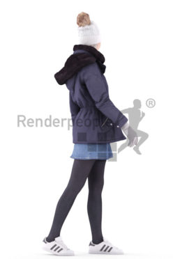 3d people outdoor, asian 3d woman walking looking over her shoulder