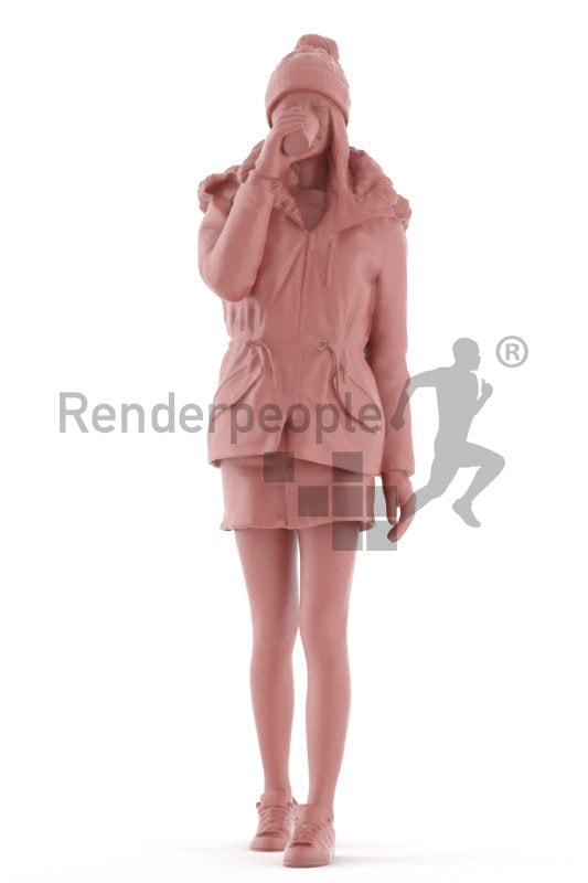 3d people outdoor, asian 3d woman walking and drinking