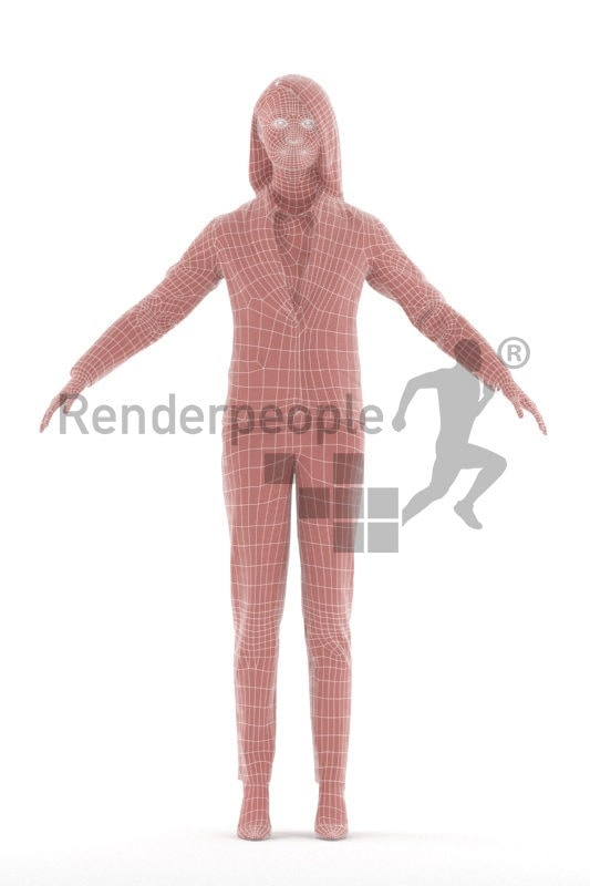 Rigged human 3D model by Renderpeople – asian woman, business