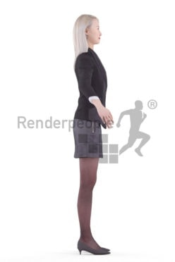 Rigged human 3D model by Renderpeople – asian woman in business dress