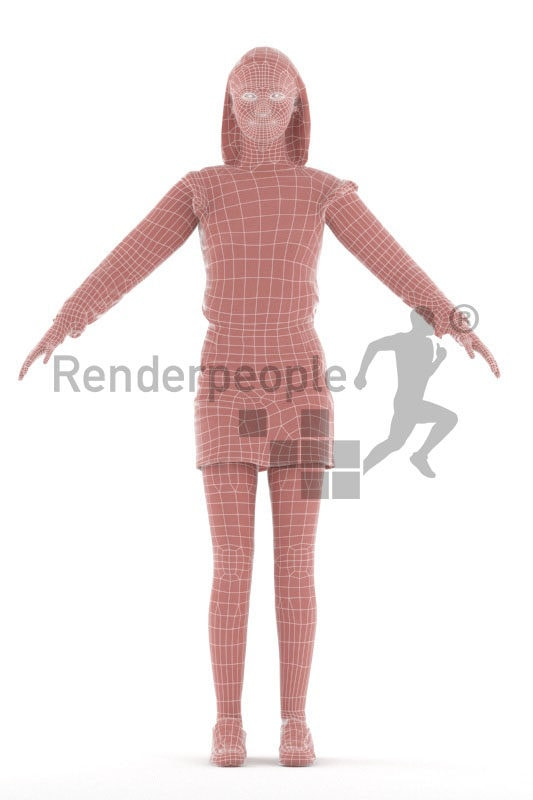 Rigged and retopologized 3D People model – asian woman in a daily outfit