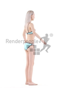3d people pool/beach asian woman rigged