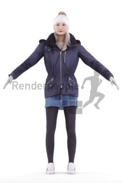 Rigged human 3D model by Renderpeople – asian woman in outdoor look
