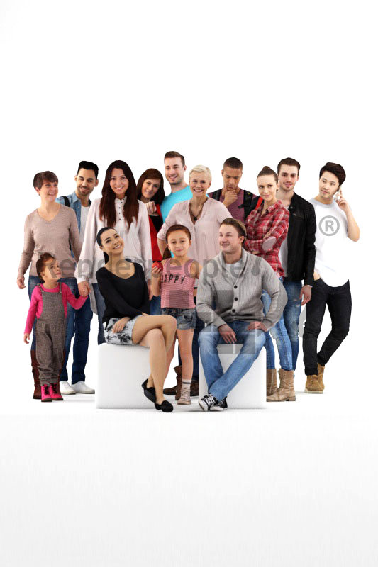 Posed 3D People model by Renderpeople – bundle, casual people
