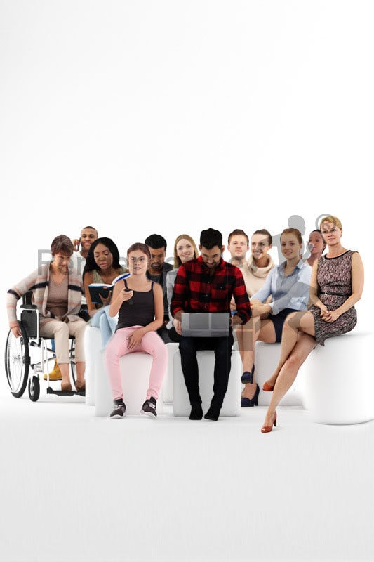 Posed 3D People model by Renderpeople –mega bundle, sitting people