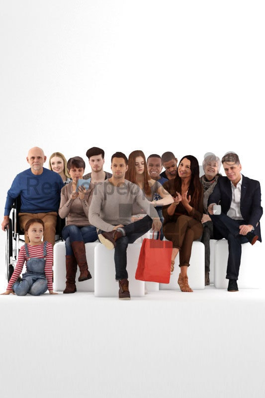 Posed 3D People model by Renderpeople – mega bundle, sitting people