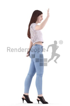 Scanned 3D People model for visualization – white woman in casual summer look, walking and waving