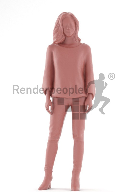 3d people casual, asian 3d woman standing and smiling