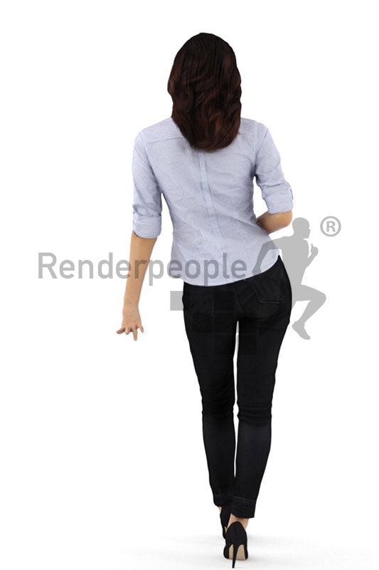 3d people business, asian 3d woman leaning against table and holding a cup