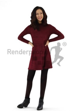3d people casual, asian 3d woman standing with her hands in her hips and smiling