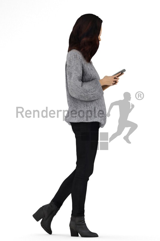 3d people casual, asian 3d woman walking and typing on her phone