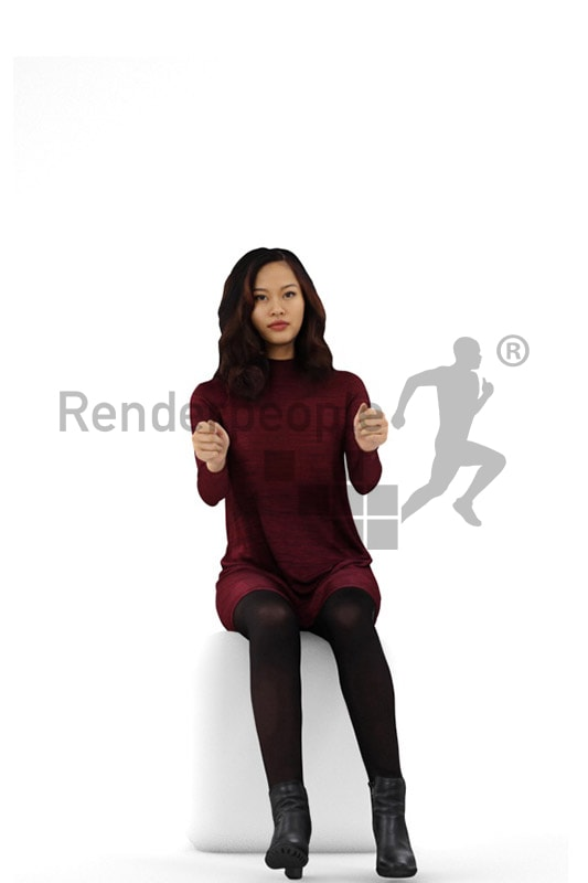 3d people casual, asian 3d woman driving